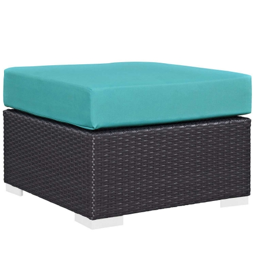 Convene Outdoor Patio Fabric Square Ottoman - Espresso Turquoise
