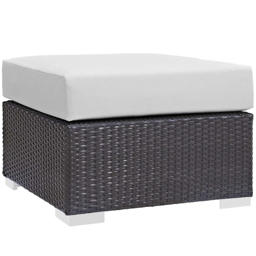Convene Outdoor Patio Fabric Square Ottoman - Espresso White