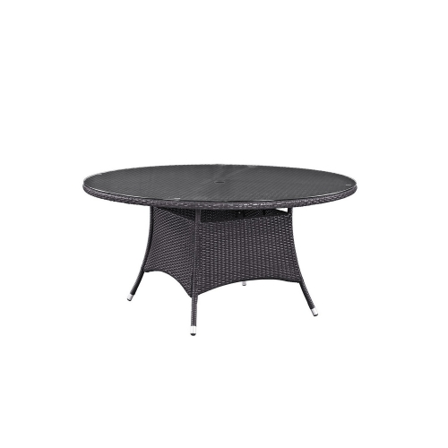 Convene 59-inch Round Outdoor Patio Dining Table - Espresso