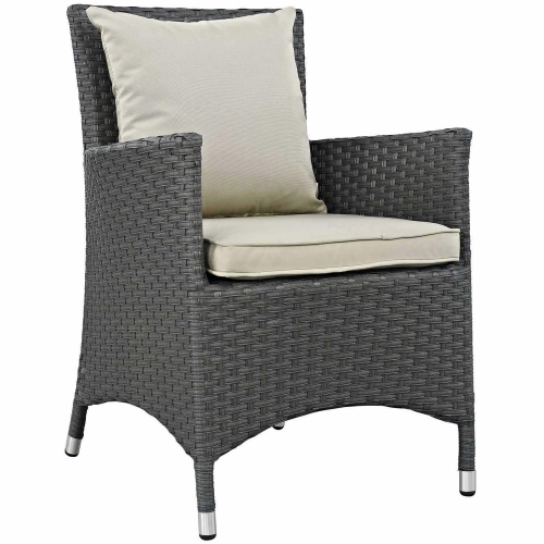 Sojourn Dining Outdoor Patio Sunbrella Arm Chair - Antique Canvas Beige