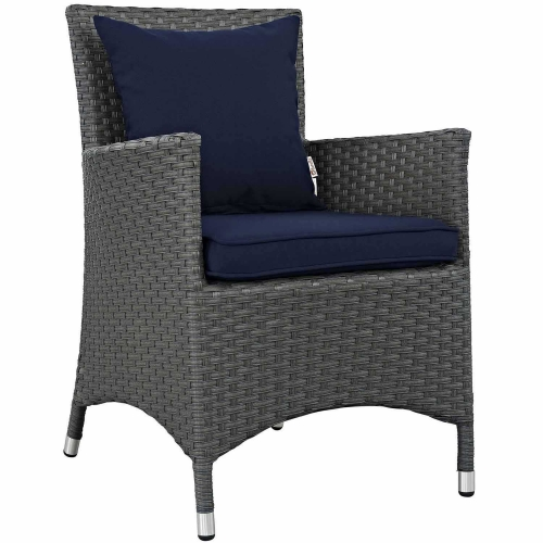 Sojourn Dining Outdoor Patio Sunbrella Arm Chair - Canvas Navy