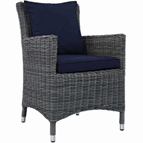 Summon Dining Outdoor Patio Sunbrella Arm Chair - Canvas Navy