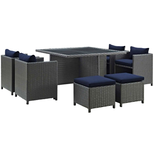 Sojourn 9 Piece Outdoor Patio Glass Top Sunbrella Dining Set - Canvas Navy