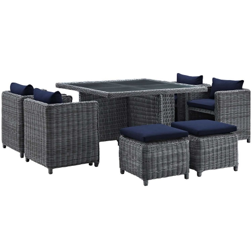 Summon 9 Piece Outdoor Patio Sunbrella Dining Set - Canvas Navy