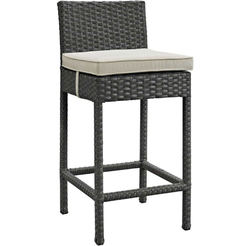 Sojourn Outdoor Patio Wicker Sunbrella Bar Stool - Antique Canvas Beige