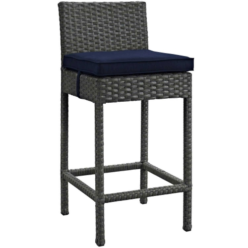 Sojourn Outdoor Patio Wicker Sunbrella Bar Stool - Canvas Navy