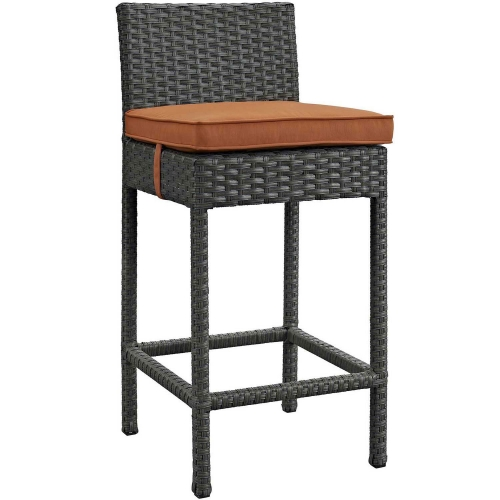 Sojourn Outdoor Patio Wicker Sunbrella Bar Stool - Canvas Tuscan