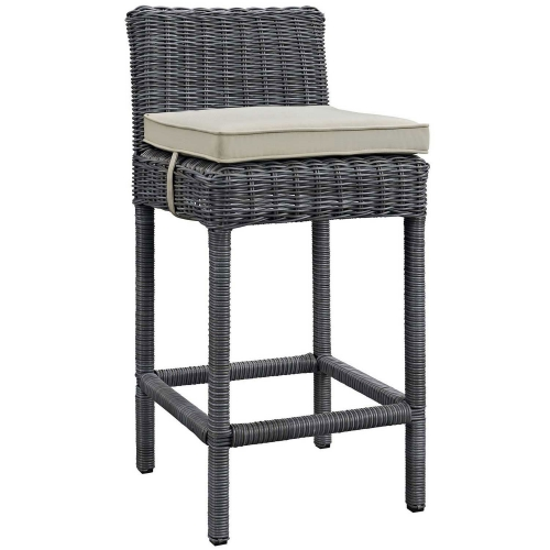 Summon Outdoor Patio Sunbrella Bar Stool - Antique Canvas Beige