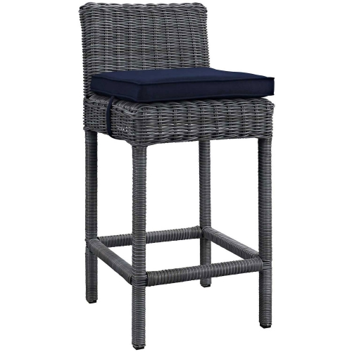 Summon Outdoor Patio Sunbrella Bar Stool - Canvas Navy