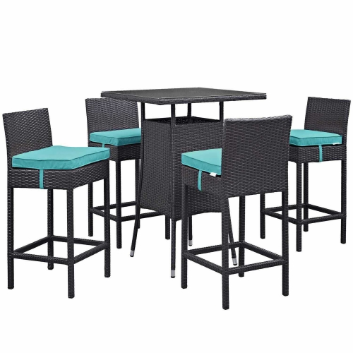 Convene 5 Piece Outdoor Patio Pub Set - Espresso Turquoise