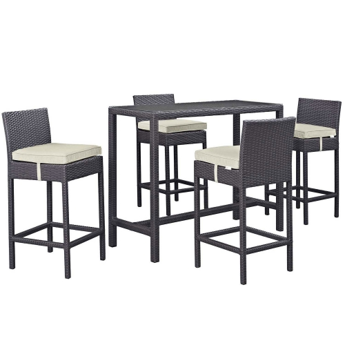 Modway Convene 5 Piece Outdoor Patio Pub Set - Espresso Beige