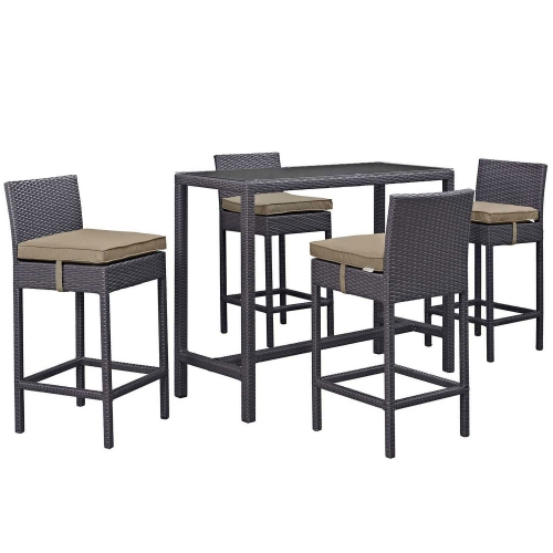 Convene 5 Piece Outdoor Patio Pub Set - Espresso Mocha
