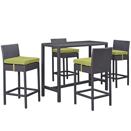 Convene 5 Piece Outdoor Patio Pub Set - Espresso Peridot