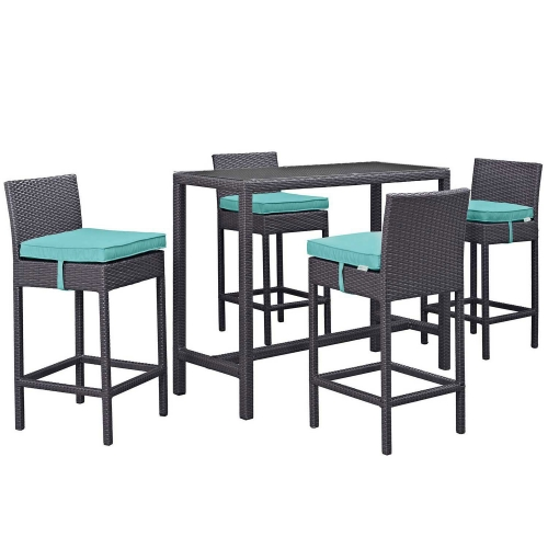Modway Convene 5 Piece Outdoor Patio Pub Set - Espresso Turquoise
