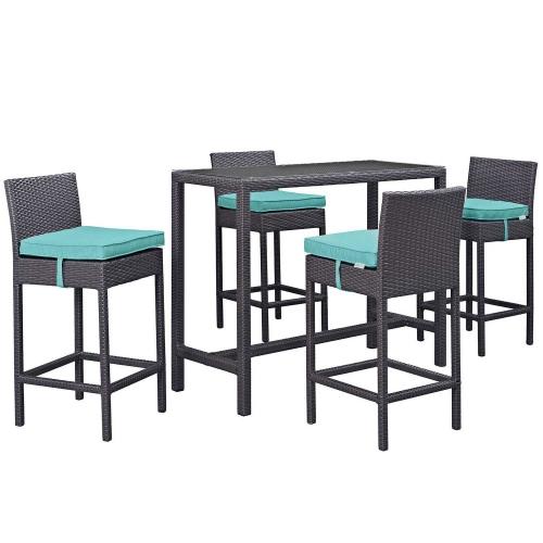 Convene 5 Piece Outdoor Patio Pub Set - Espresso Turquoise