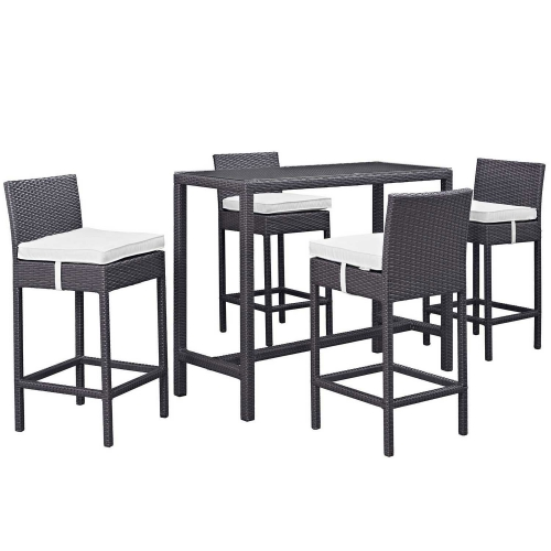 Convene 5 Piece Outdoor Patio Pub Set - Espresso White