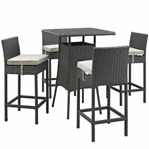 Sojourn 5 Piece Outdoor Patio Sunbrella Pub Set - Antique Canvas Beige