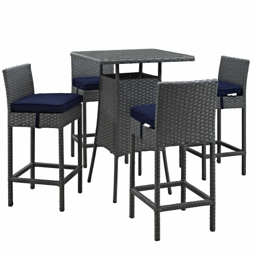 Sojourn 5 Piece Outdoor Patio Sunbrella Pub Set - Canvas Navy