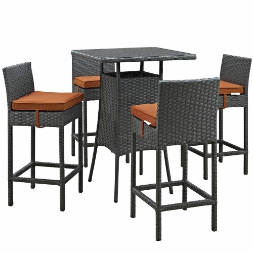 Sojourn 5 Piece Outdoor Patio Sunbrella Pub Set - Canvas Tuscan