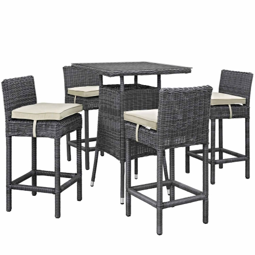 Summon 5 Piece Outdoor Patio Sunbrella Pub Set - Antique Canvas Beige