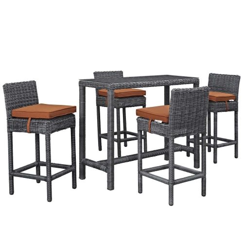 Summon 5 Piece Outdoor Patio Sunbrella Pub Set - Canvas Tuscan