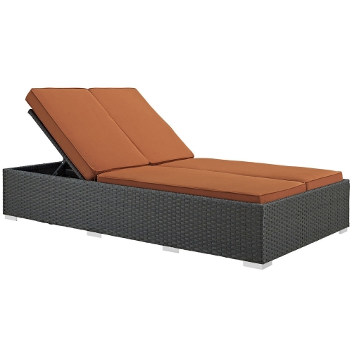 Sojourn Outdoor Patio Sunbrella Double Chaise - Chocolate Tuscan