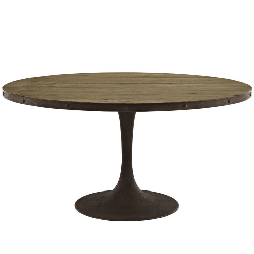Drive 60-inch Round Wood Top Dining Table - Brown