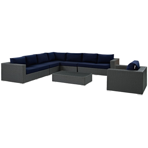 Sojourn 7 Piece Outdoor Patio Sunbrella Sectional Set - Chocolate Navy
