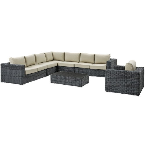 Summon 7 Piece Outdoor Patio Sunbrella Sectional Set - Gray Beige