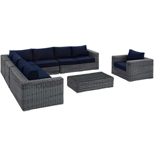 Summon 7 Piece Outdoor Patio Sunbrella Sectional Set - Gray Navy