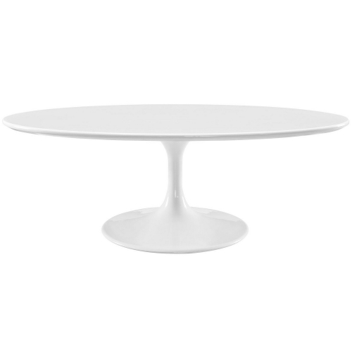 Lippa 48-inch Oval-Shaped Wood Top Coffee Table - White