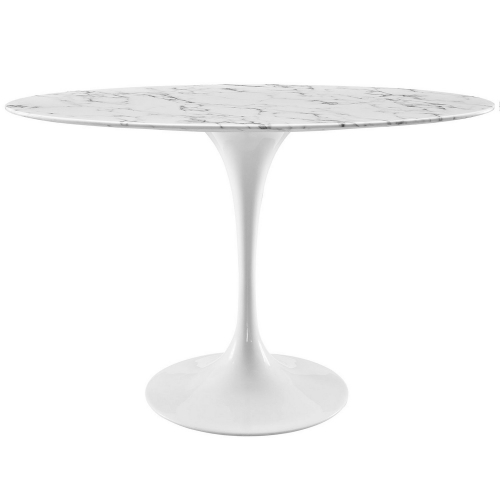 Lippa 48-inch Oval-Shaped Artificial Marble Dining Table - White