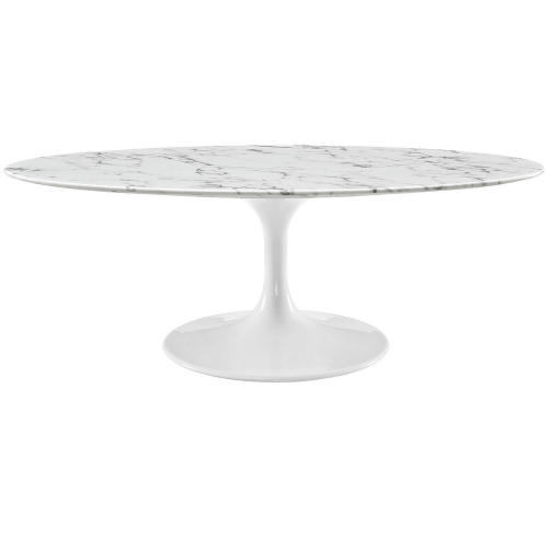 Lippa 48-inch Oval-Shaped Artificial Marble Coffee Table - White