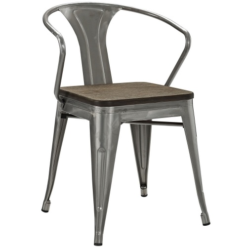 Promenade Dining Chair with Bamboo Seat - Gunmetal