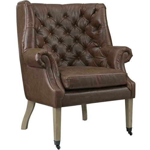 Chart Fabric Lounge Chair - Brown