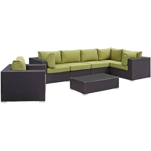 Convene 7 Piece Outdoor Patio Sectional Set - Espresso Peridot