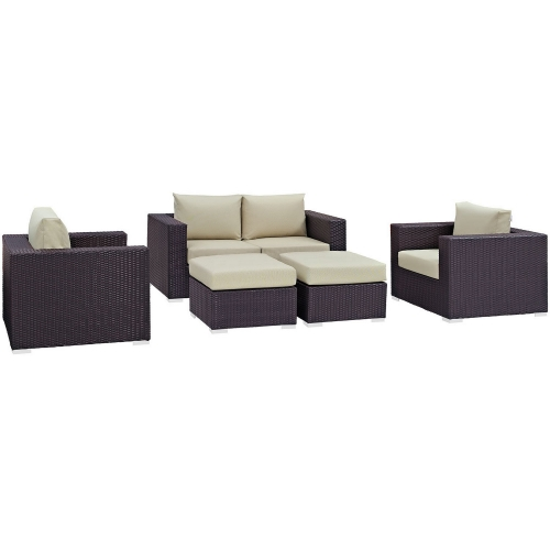 Convene 5 Piece Outdoor Patio Sofa Set - Espresso Beige