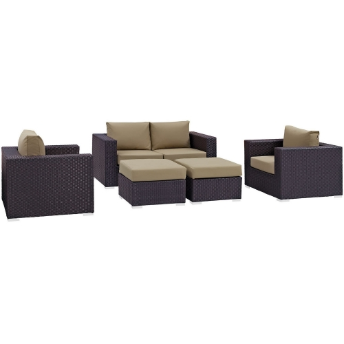 Convene 5 Piece Outdoor Patio Sofa Set - Espresso Mocha