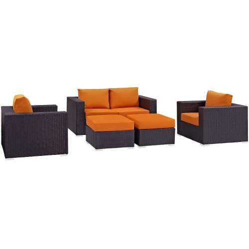 Modway Convene 5 Piece Outdoor Patio Sofa Set - Espresso Orange