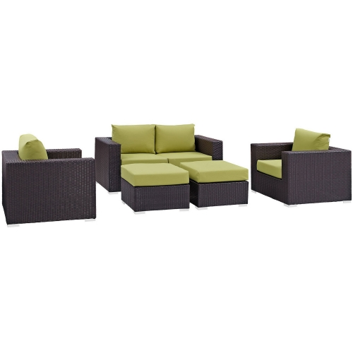 Convene 5 Piece Outdoor Patio Sofa Set - Espresso Peridot