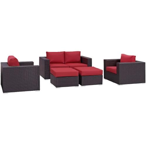 Convene 5 Piece Outdoor Patio Sofa Set - Espresso Red