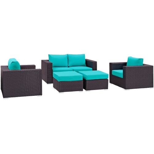 Convene 5 Piece Outdoor Patio Sofa Set - Espresso Turquoise