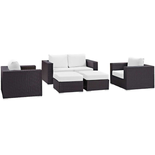 Modway Convene 5 Piece Outdoor Patio Sofa Set - Espresso White