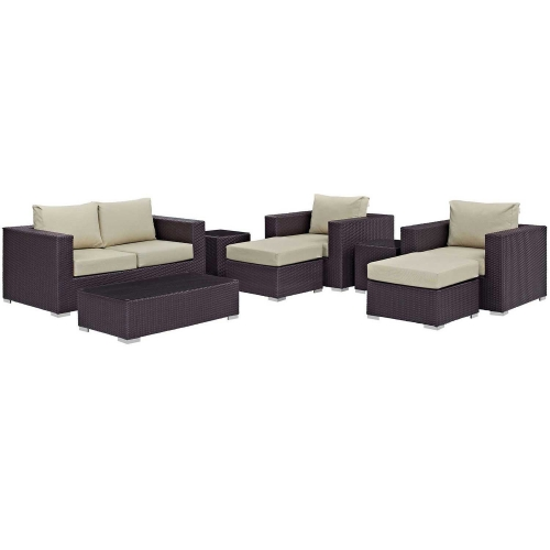 Convene 8 Piece Outdoor Patio Sofa Set - Espresso Beige