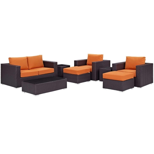 Convene 8 Piece Outdoor Patio Sofa Set - Espresso Orange