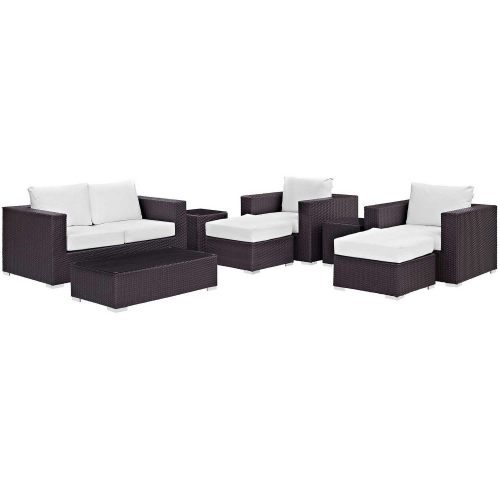 Convene 8 Piece Outdoor Patio Sofa Set - Espresso White