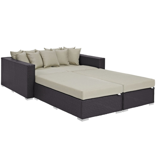 Convene 4 Piece Outdoor Patio Daybed - Espresso Beige