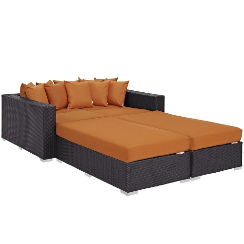 Convene 4 Piece Outdoor Patio Daybed - Espresso Orange