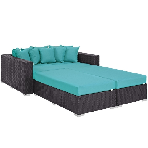 Convene 4 Piece Outdoor Patio Daybed - Espresso Turquoise