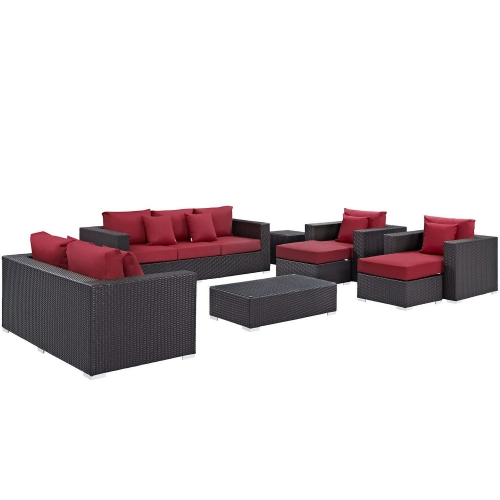 Convene 9 Piece Outdoor Patio Sofa Set - Espresso Red
